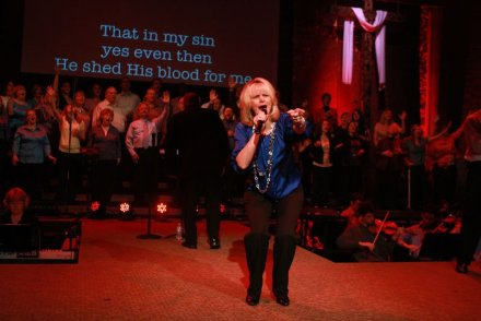 "Kim, singing ""O The Blood"" at MPCC, Easter 2011"